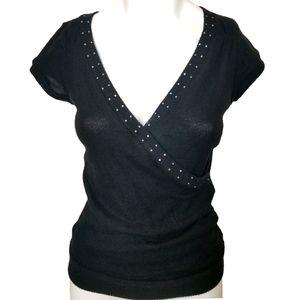 Papaya Black short sleeve cross front sweater